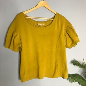 Postmark Anthropologie Mustard Yellow Shirt Blouse